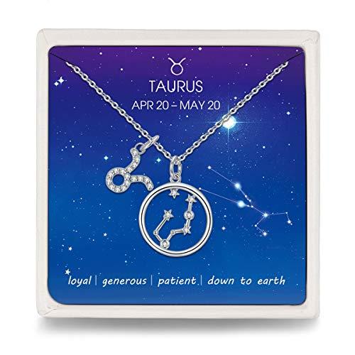 Qings Kette Damen 925 Silber Stier Sternbild Sternzeichen Halskette mit Kreis Stern Zirkonia Anhänger, Hals-Schmuck Horoskop Kette für Frauen Mädchen