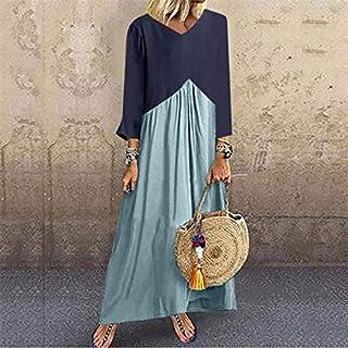 Qgbdsgdsg Stitching Contrast Color Irregular Long-sleeved Dress, Size: S(Purple) (Color : Light Blue)