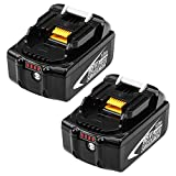 2 Pack Hochstern 18V 5.0Ah Ersatzakku für 18V Batterie BL1850 BL1850B BL1860 BL1860b BL1830 BL1840 BL1815 BL1835 BL1845 LXT-400 Akku-Elektrowerkzeug