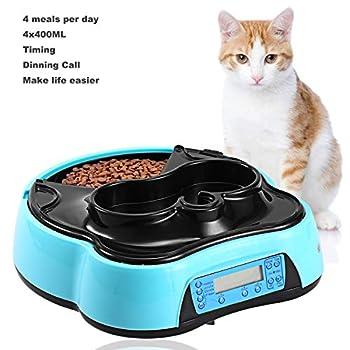Distributeur automatique de nourriture 2 en 1 avec écran LCD et fonction d'enregistrement sonore, distributeur d'eau et 4 compartiments pour chiens et chats - Pour aliments secs et humides 1,6 l