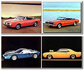 Ford Mustang Vintage Chevy Car Picture 8x10 Four Set Home Wall Decor Art Print Posters
