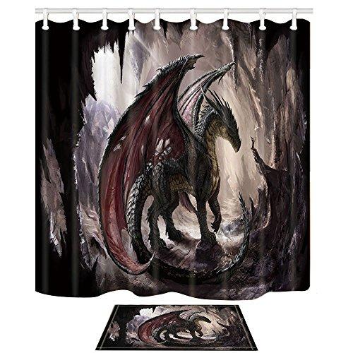KOTOM Dragon and CAVE Shower Curtain (69X70'' Shower Curtain + Bath MAT)
