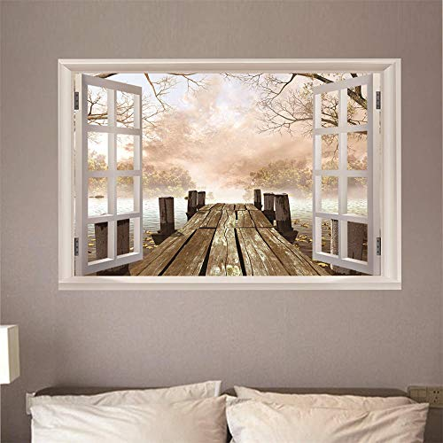 3D Fensterblick Leinwand - Wandbild - Fototapete - Poster - Fensterblick - Panorama Bilder - Dekoration - Holzbrücke Mit Blick Auf Das Meer,140x100cm