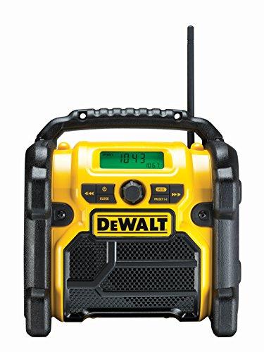 DeWalt Baustellenradio DCR019 – 2in1 Akku Radio & Netz Radio mit AUX-Eingang, robustem Gehäuse, Kabelaufbewahrung, flexibler Antenne und Überrollbügel – Tragbares Radio zum Empfang analoger Signale
