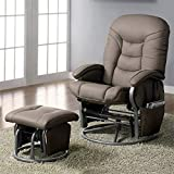 BOWERY HILL Faux Leather Glider and Ottoman in Beige and Gray