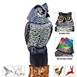 AndBird Horned Owl with Rotating Head-Vertical Great Owl Garden Decor - Rotating Natural Enemy Scarecrow