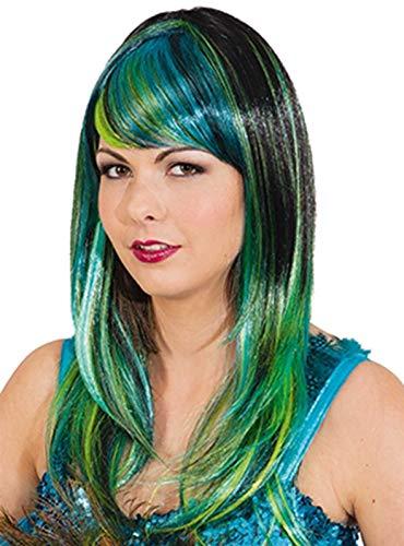 Faschingsperücke Damen Pfauen Lady, schwarz-blau-grün