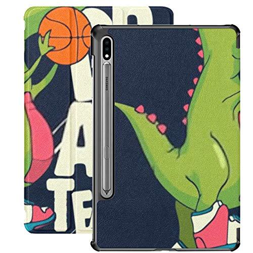 Funda Galaxy Tablet S7 Plus de 12,4 Pulgadas 2020 con Soporte para bolígrafo S, diseño de Vector de Jugador de Baloncesto de Dinosaurio, Funda Protectora Delgada para niños con Soporte para Samsung
