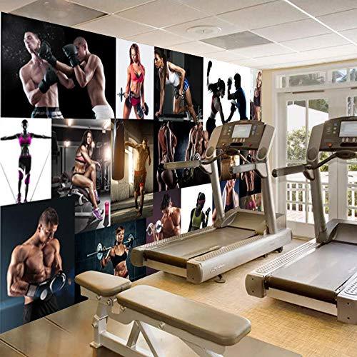 Ksnrang Boxeo Deportes Fitness Hermoso Muscular Macho Papel Tapiz Mural Fitness Boxing Gym Studio Fondo Revestimiento de paredes-250 * 175cm