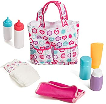 Mommy & Me Baby Doll 5 Pocket Diaper Bag with 7 Doll Care Accessories