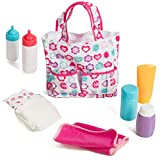 Mommy & Me Baby Doll Accessories 5 Pocket Diaper Bag with 7 Doll Care Accessories, Including Bottles, Diaper, Baby Lotion, Powder, and Blanket