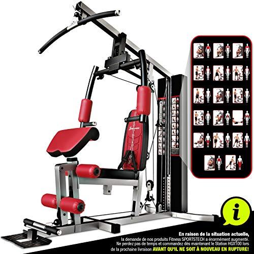 Sportstech Station de Musculation Multifonction Premium 45en1 HGX100/HGX200, Appareil Musculation Variantes d'entraînement. Home-Gym Multifonction, Station de Fitness, Construction Robuste (HGX100)