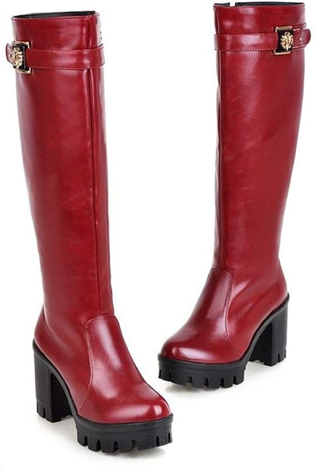 Zgshnfgk Woman's Knight Boots Chunky Heel Bright Leather high Boots Winter Boots
