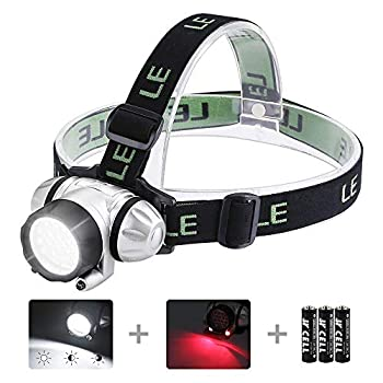 LE LED Headlamp Flashlight Headlight with Red Light Water Resistance Adjustable for Kids and Adults Perfect Head Light for Running Hiking Reading Camping Outdoor and More Batteries Included