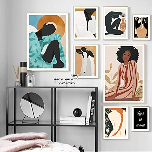 Vintage Abstract Nordic Simple Fashion Girl Woman Figure Plants Canvas Painting Wall Art Poster Prints Bedroom Living room Beauty Salon Office Home Decor