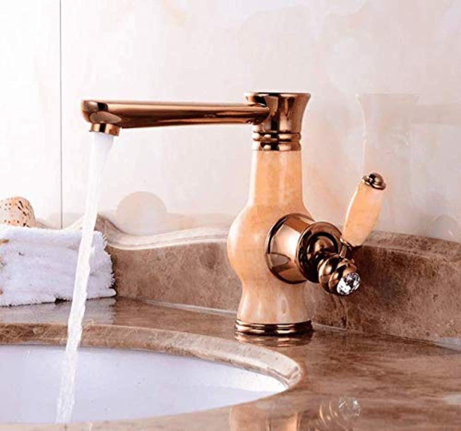 Faucetretro Deluxe Faucetinging Faucet European Style Jade Faucet, golden Basin, Hot and Cold Faucet, Washbasin, Retro Swivel Faucet, Single Hole Faucet.
