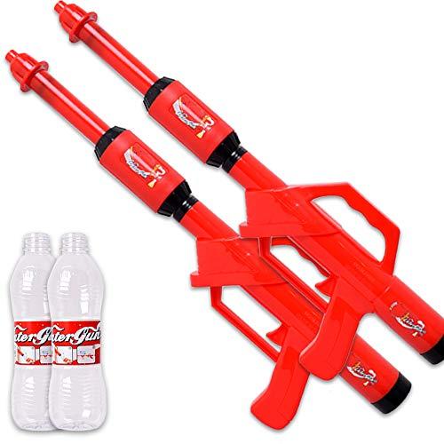 TE-Trend 2 Stück Wasserpistole PET Flasche Anschluss Spritzpistole Wasserspritpistole Wassergewehr Spritzgewehr Water Gun 47 cm Rot