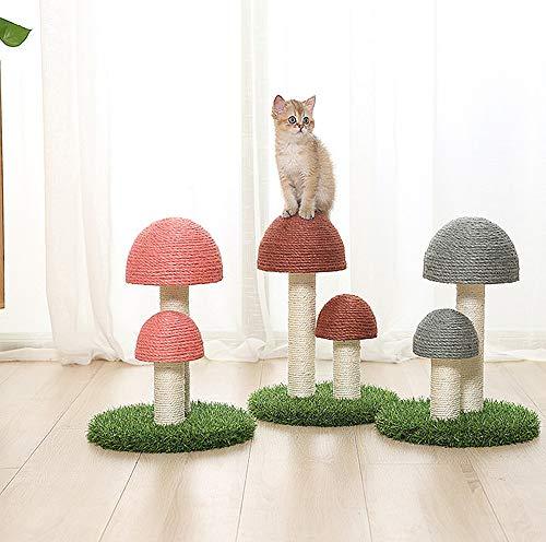 A/N SHIJIU SHIMENG alberi per gatti e torri, piccolo albero per gatti, tiragraffi per gatti, telaio per arrampicata per gatti, lino naturale, funghi. (giallo)