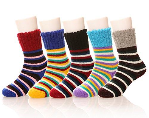 Eocom Children's Winter Warm Striper Socks Kids Boys Girls Socks 5 Pack Random Color(5 Pairs Stripe,1-3 Years)