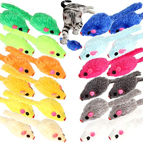 Youngever 24 Pcs Cat Toys Mice Rattle, Play Mice with Rattling Sounds, Cat Mouse Toys, Interactive Play for Cat, Puppy, Kitty, Kitten, in 12 Assorted Colors