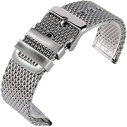 chenghuax Correa de reloj de 20 mm, 22 mm, 24 mm, acero inoxidable, pulsera de malla de plata y hebilla de cadena sólida + 2 barras de resorte (color: -, tamaño: 24 mm)