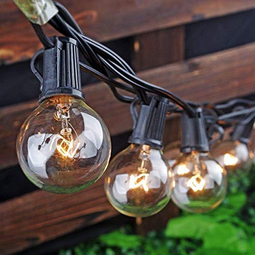 Outdoor String Lights, Yuusei 100Ft G40 Patio Lights with 55 5W Clear Globe Bulbs (5 Spare), IP44 Waterproof Backyard String Light with E12 Socket Base, for Balcony Porch Deck, UL Listed