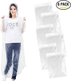 Emergency Rain Ponchos, Disposable Raincoat with Drawstring Hood and Sleeves, Emergency Rain Gear for Outdoors, Theme parks, Hiking, Camping, School Sporting Corporate Events Group Activity, 6 Pack Ea