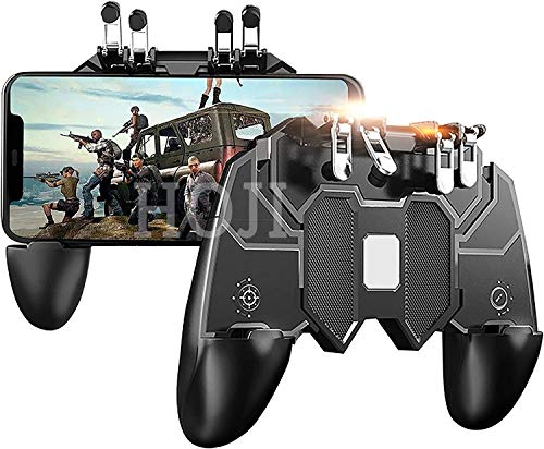 Ceuta Retails® Mobile Game Controller with 4 Triggers Compatiple for PUβG/COD Mobile Fotnite [6 Finger Operation], L1R1 L2R2 Grip Gamepad Joystick Remote Shoot Aim Key for iOS Android Phone