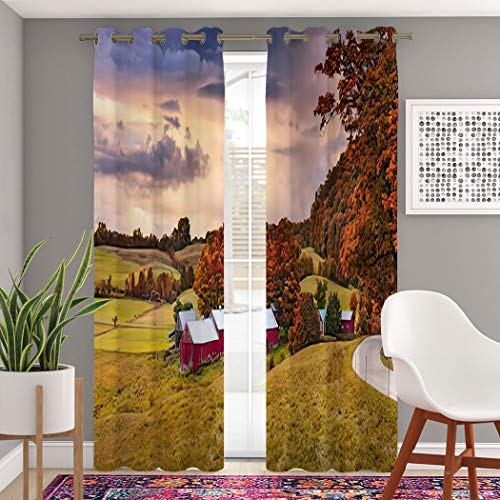 MOOTFAY Landscape Curtains, Rural Autumn Jenne Farm in Vermont USA England New Farm Town Grommet Top Blackout Window Curtains, for Living Room Bedroom Window Drapes 2 Panel Set, 104' X 63'