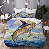 ALLMILL Funda Nórdica De Microfibra,Marlin Azul Marlines Atún Pequeño Bonito Pescado Terry Fox,Juego De Ropa De Cama De 3 Piezas (1 Funda De Edredón 200 x 200cm + 2 Fundas De Almohada 50 * 80cm)