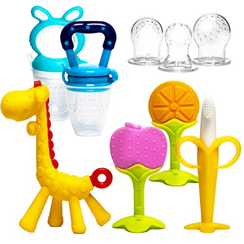 HONGTEYA Teething Toys for Babies 06 Months 612 Months 6 Pack 4 Teethers for Babies Baby 2 Fruit Feeders for Newborn Infants BPA Free Natural Organic Freezer Silicone Baby Teethers SetBlue