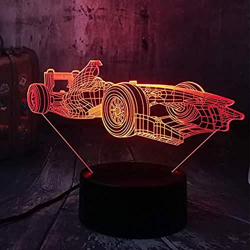 XLLJA lampara Nocturna Infantil,Luz de Noche Mula Racing Car 3D LED Luz de Noche Escritorio Acrílico Lámpara de Mesa Fiesta Decoración para el hogar Niño Niño Juguete Cumpleaños