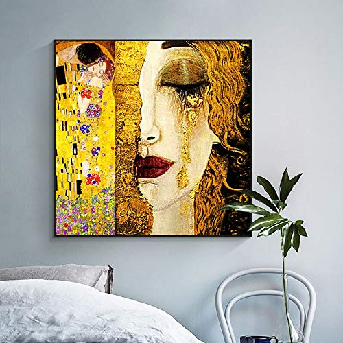 Gustav Klimt Kiss Tear artista clásico pintura al óleo abstracta sobre lienzo carteles e impresiones cuadros de pared para cuadros de sala de estar 60x60 CM (sin marco)