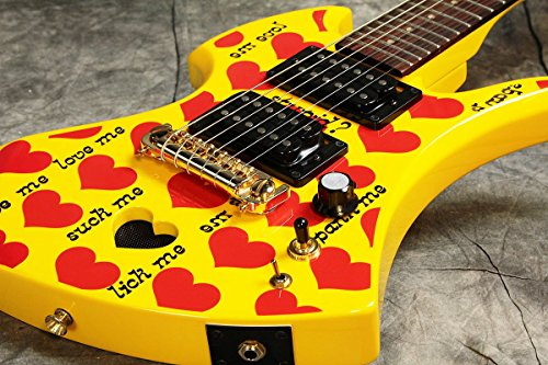 BURNY バーニー ミニエレキギター YH-JR.2009 Heart Yellow アンプ内蔵