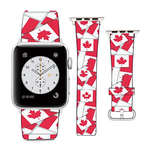 Compatible with Apple Watch Wristband 38mm 40mm, (Canada - Pattern Collage of Flags with Shadows) PU Leather Band Replacement Strap for iWatch Series 5 4 3 2 1