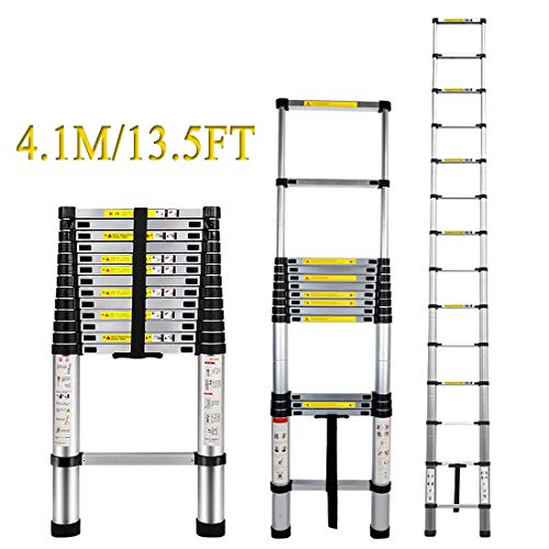 Aluminum Telescopic Ladder  ARCHOM Telescoping Extension Ladder 135ft Extend Ladder MultiPurpose Portable Lightweight Folding Ladder with EN131 and CE Standard 330 Pound Capacity