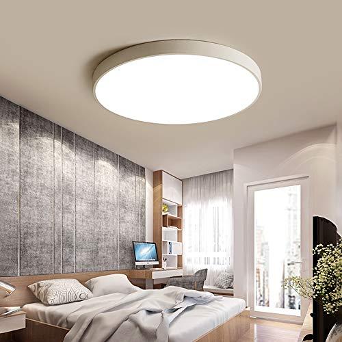 Lámpara de techo LED regulable Luz de techo blanco redonda clásica, diseño tradicional elegante Plafones moderna dormitorio con control remoto, salón cocina isla bar escaleras aplique de pared (80cm)