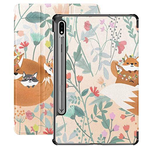 Funda Galaxy Tablet S7 Plus de 12,4 Pulgadas 2020 con Soporte para bolígrafo S, Cute Mom Baby Fox Sweet Flower Funda Protectora Delgada con Soporte para Samsung
