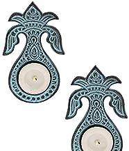 STORE INDYA storeindya Tealight Candle Holder Christmas Decorations Home Decor Set of 2 Blue Metal Tealight Candle Votive ...