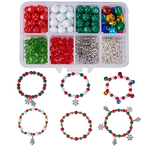 SUNNYCLUE 1 Box DIY 6 Set Beaded Christmas Bracelet Making Kit DIY Craft Kits with Snowflake Christmas Tree Jingle Bells Charms Pendants for Girls Women Adults