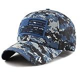 The Hat Depot Low Profile Tactical Operator USA Flag Buckle Cotton Cap (Blue Digital Camo)