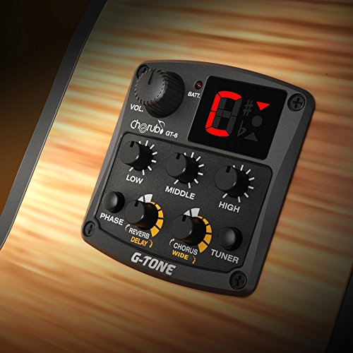 Cherub GT-6 Acoustic Guitar Preamp Piezo Pickup 3-Band EQ Equalizer LCD Tuner with...