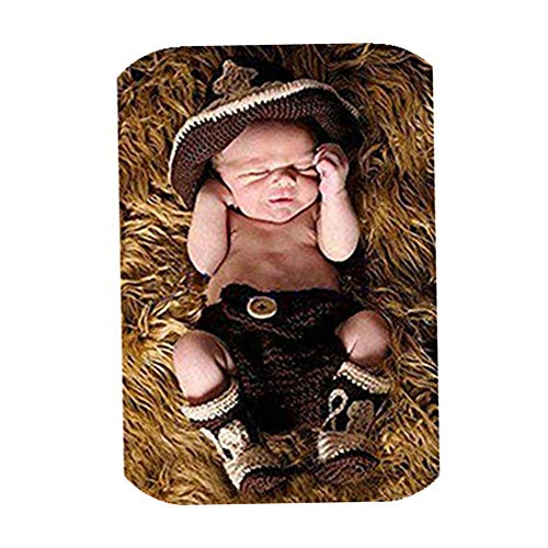 Newborn Monthly Baby Photo Props Outfits Cowboy Hat Shorts Shoes Crochet Knitted Set for Boys Photography Shoot Coffee