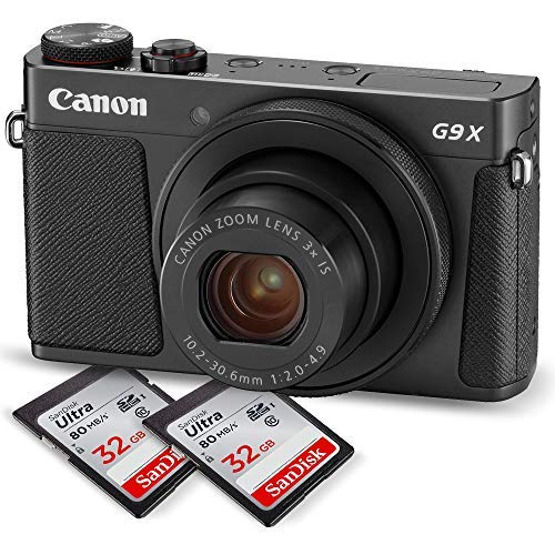 Canon PowerShot G9 X Mark II Digital Camera (Black) W/Total of 64GB SD Card