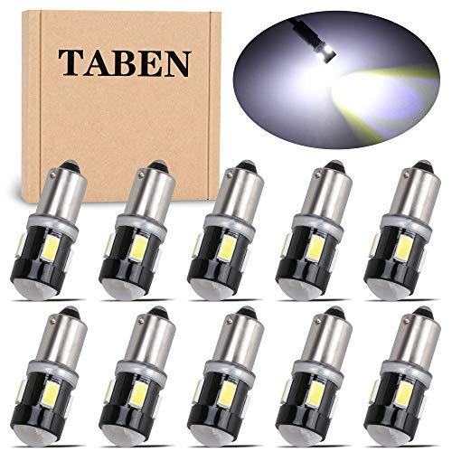 TABEN 10 Uds T4W BA9S Bombilla LED de Aluminio Lente de proyector luz de cortesía de Puerta Lateral Interior de Coche 6 SMD 5630 lámpara de estacionamiento LED Blanco 12V