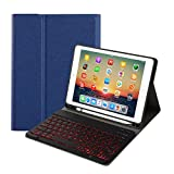 for iPad 8th Generation (2020)/7th Generation(2019) 10.2 inch Keyboard Leather Case,7 Colors Backlit Removable Slim Lightweigh Folio Cover Wireless Bluetooth Keyboard for iPad 10.2' (Blue)