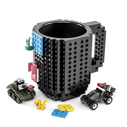 VANUODA Build-On Brick Mug, Building Blocks Coffee Cup, Block Buddy Mug, Unique Christmas Gift Present Idea, Compatible with Lego (Black)