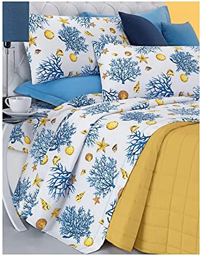 Russian Fabrics Bedding Set Double Bed Angel's Coral Blue White