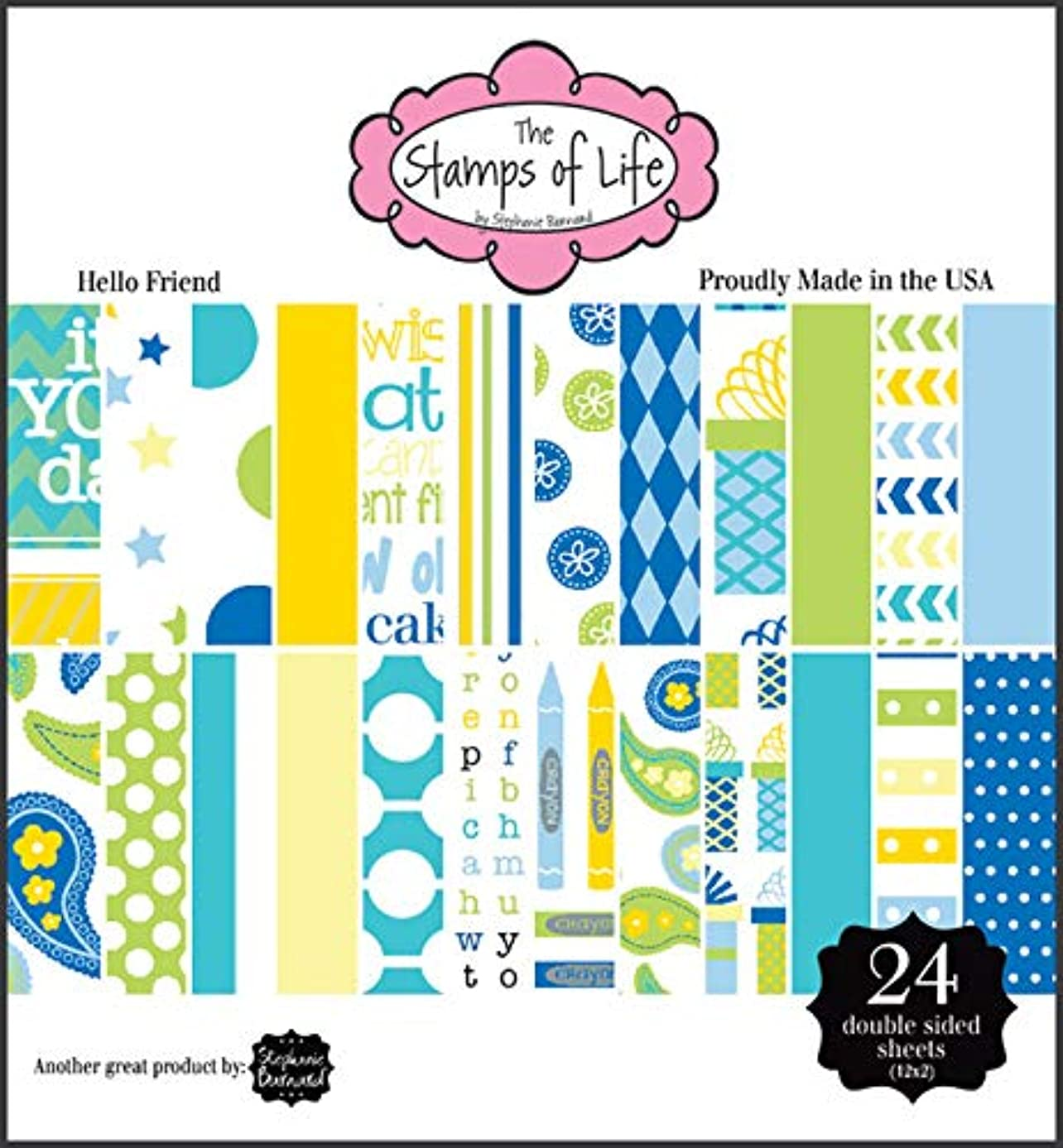 Hello Friend Patterned Paper Pad for Card-Making and Scrapbooking by The Stamps of Life - 24 Sheets 6