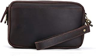 Tiding Men's Crazy Horse Leather Wallet Clutch Pouch Handbag Wrist Bag 40452